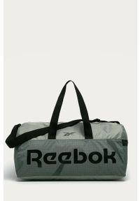 Oliwkowa torba podróżna Reebok z nadrukiem