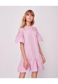Sukienka mini VALENTINO w ażurowe wzory, kopertowa, na wesele