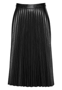 Spódnica plisowana ze sztucznej skóry bonprix czarny. Kolor: czarny. Materiał: skóra