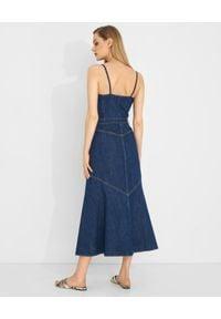 Pinko - PINKO - Długa jeansowa sukienka Poppy. Kolor: niebieski. Materiał: jeans. Długość rękawa: na ramiączkach. Styl: elegancki. Długość: maxi