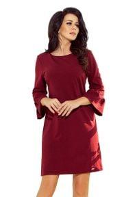Numoco - Bordowa Sukienka Wizytowa z Koronką na Rękawie. Kolor: czerwony. Materiał: koronka. Wzór: koronka. Styl: wizytowy