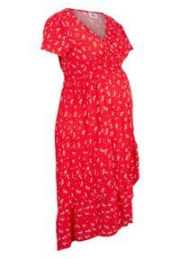 Sukienka ciążowa bonprix truskawkowy w kwiaty. Kolekcja: moda ciążowa. Kolor: czerwony. Wzór: kwiaty