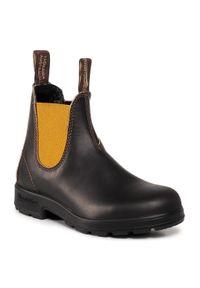 Brązowe buty zimowe Blundstone z cholewką, na obcasie