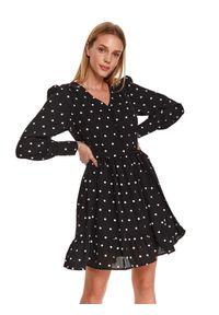 Czarna sukienka TOP SECRET z nadrukiem, koszulowa