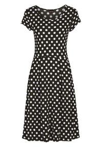 Czarna sukienka bonprix na lato, z krótkim rękawem, w kropki