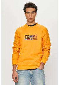 Pomarańczowa bluza nierozpinana Tommy Jeans na co dzień, casualowa, z nadrukiem