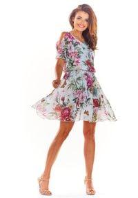 e-margeritka - Zwiewna sukienka mini ecru - 36. Materiał: szyfon, poliester, tkanina, materiał. Typ sukienki: rozkloszowane. Styl: wakacyjny. Długość: mini