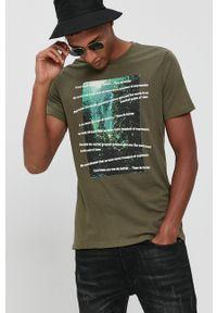 !SOLID - T-shirt bawełniany. Okazja: na co dzień. Kolor: zielony. Materiał: bawełna. Wzór: nadruk. Styl: casual