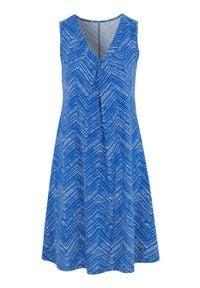 Cellbes Wzorzysta, rozszerzana sukienka z dżerseju. niebieski biały female niebieski/biały 54/56. Kolor: biały, wielokolorowy, niebieski. Materiał: jersey