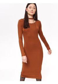 Brązowa sukienka TROLL z aplikacjami, prosta