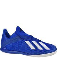 Niebieskie halówki Adidas w kolorowe wzory, z cholewką