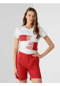 4f - Koszulka damska Chorwacja - Tokio 2020. Kolor: biały. Materiał: dzianina, bawełna. Wzór: nadruk. Sezon: lato