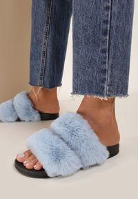Renee - Niebieskie Kapcie Susliania. Okazja: do domu, na co dzień. Nosek buta: otwarty. Zapięcie: bez zapięcia. Kolor: niebieski. Materiał: futro. Wzór: paski. Styl: casual