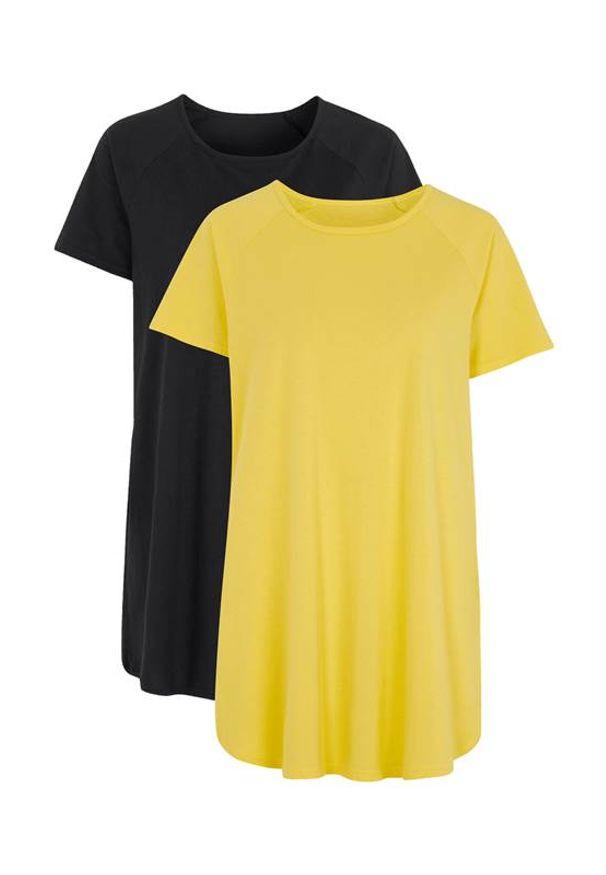 Cellbes Dżersejowa tunika z bawełny 2 Pack żółty Czarny female żółty/czarny 42/44. Kolor: wielokolorowy, żółty, czarny. Materiał: jersey, bawełna. Długość rękawa: raglanowy rękaw. Długość: krótkie