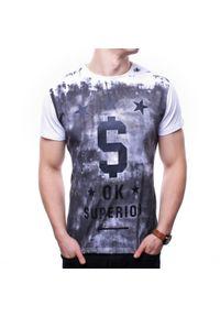 Biały t-shirt z nadrukiem Recea klasyczny, z krótkim rękawem