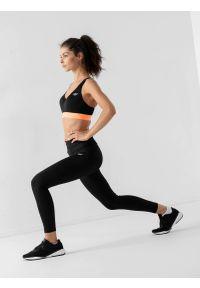4f - Legginsy do biegania szybkoschnące damskie. Stan: podwyższony. Kolor: czarny. Materiał: włókno, dzianina. Sport: bieganie