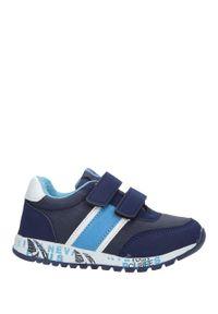 Casu - Granatowe buty sportowe na rzepy ze skórzaną wkładką casu k-221. Zapięcie: rzepy. Kolor: niebieski. Materiał: skóra