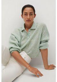Zielony sweter mango krótki, gładki, z długim rękawem