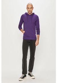 Fioletowa bluza nierozpinana Jack & Jones gładkie, z kapturem