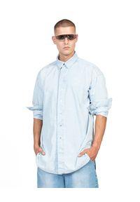ROBERT KUPISZ - Niebieska koszula ORIENT JEANS. Kolor: niebieski. Materiał: jeans. Długość rękawa: długi rękaw. Długość: długie. Wzór: nadruk. Styl: klasyczny