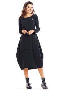 Infinite You - Czarna Dzianinowa Sukienka Bombka z Długim Rękawem. Kolor: czarny. Materiał: dzianina. Długość rękawa: długi rękaw. Typ sukienki: bombki