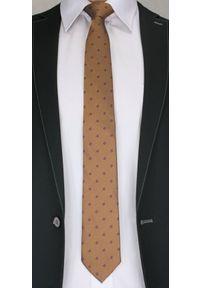 Stylowy Krawat Męski w Kwiatki -6,5cm- Chattier, Miedziany, Kolorowy. Kolor: beżowy, brązowy, wielokolorowy. Materiał: tkanina. Wzór: grochy. Styl: elegancki