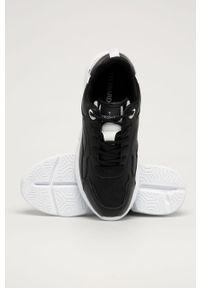 Czarne sneakersy Trussardi Jeans z cholewką, na sznurówki