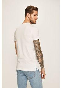 Diesel - T-shirt. Okazja: na co dzień. Kolor: biały. Wzór: aplikacja. Styl: casual