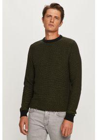 Zielony sweter Selected z okrągłym kołnierzem, z długim rękawem, długi