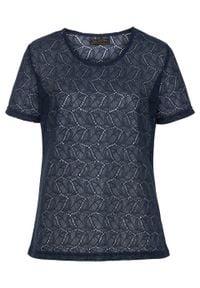 Shirt koronkowy bonprix ciemnoniebieski. Kolor: niebieski. Materiał: koronka. Długość rękawa: krótki rękaw. Długość: krótkie. Styl: elegancki