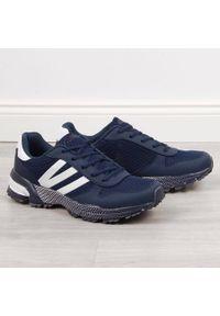 Buty sportowe męskie granatowe Atletico. Kolor: niebieski. Materiał: materiał