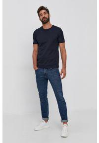 BOSS - Boss - T-shirt. Kolor: niebieski. Materiał: bawełna, dzianina