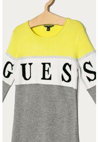 Szara sukienka Guess Jeans mini, z długim rękawem, dopasowana