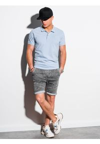 Ombre Clothing - Koszulka męska polo klasyczna bawełniana S1374 - błękitna - XXL. Typ kołnierza: polo. Kolor: niebieski. Materiał: bawełna. Wzór: haft. Styl: klasyczny