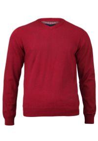 Czerwony sweter Adriano Guinari z dekoltem w serek, elegancki