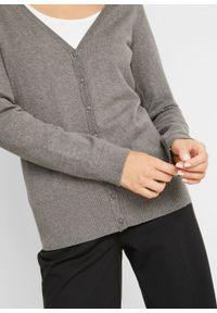 Sweter rozpinany z gładkiej dzianiny z plisą guzikową bonprix szary melanż. Kolor: szary. Materiał: dzianina. Wzór: melanż, gładki