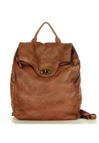Marco Mazzini handmade - Brązowy Duży Akademicki Plecak Old Travel. Kolor: brązowy