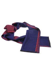 Modini - Czerwono-granatowy szal męski I41. Kolor: niebieski, czerwony, wielokolorowy. Materiał: wiskoza