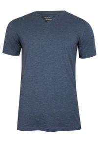 Pako Jeans - Niebieski Bawełniany T-Shirt -PAKO JEANS- Męski, Krótki Rękaw, Dekolt w Serek z Guzikami, BASIC. Okazja: na co dzień. Typ kołnierza: dekolt w serek. Kolor: niebieski. Materiał: bawełna. Długość rękawa: krótki rękaw. Długość: krótkie. Styl: casual