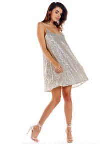 Awama - Beżowa Sukienka na Cienkich Ramiączkach Wyszywana Cekinami. Kolor: beżowy. Materiał: poliester, elastan. Długość rękawa: na ramiączkach
