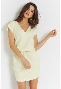 Żółta sukienka wizytowa IVON na lato, prosta
