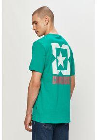 Zielony t-shirt Converse gładki, na co dzień, casualowy