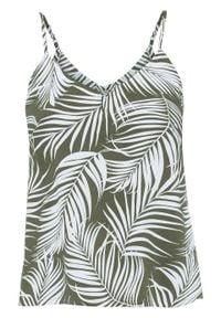 Bluzka bez rękawów LENZING™ ECOVERO™ bonprix ciemny khaki w roślinny wzór. Kolor: zielony. Długość rękawa: bez rękawów