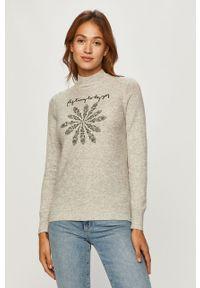 Szary sweter Desigual z długim rękawem, długi