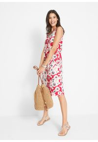 Sukienka z dżerseju (2 szt.) bonprix czerwony w kwiaty + czerwony. Kolor: czerwony. Materiał: jersey. Wzór: kwiaty