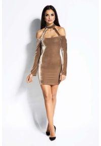 Dursi - Beżowa Sukienka Ołówkowa Mini z Odkrytymi Ramionami. Kolor: beżowy. Materiał: poliester, elastan. Typ sukienki: ołówkowe, z odkrytymi ramionami. Długość: mini