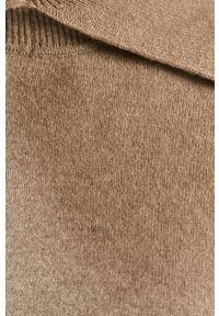 Beżowy sweter Samsoe & Samsoe z golfem, gładki, z długim rękawem, długi