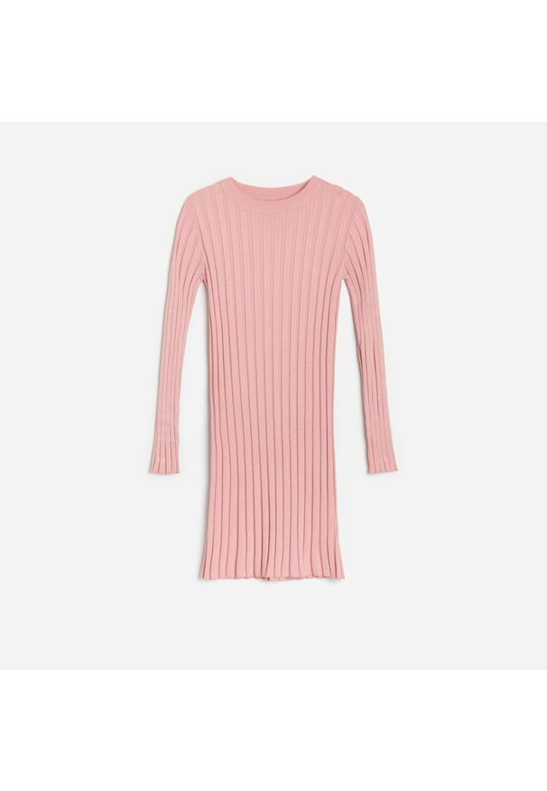 Reserved - Dzianinowa sukienka - Różowy. Kolor: różowy. Materiał: dzianina