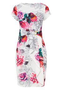 Biała sukienka bonprix w kwiaty, ołówkowa