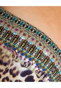 Camilla - CAMILLA - Top od bikini z usztywnianymi miseczkami w cętki. Kolor: brązowy. Materiał: tkanina, nylon